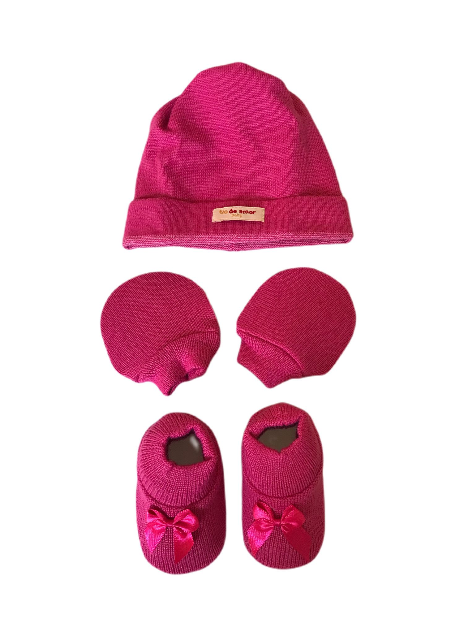 Kit Sapatinho + Luva + Touca de Tricot Pink Fio de Amor Baby