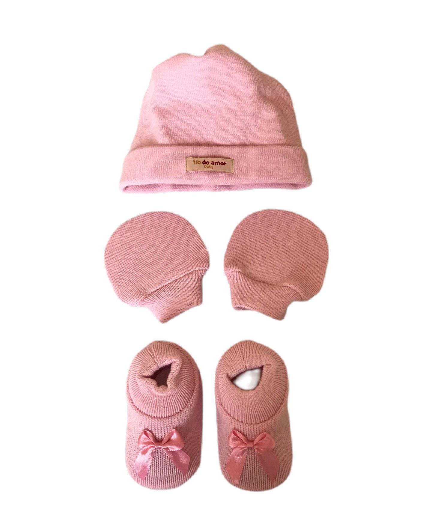Kit Sapatinho + Luva + Touca de Tricot Rosa Bebê Fio de Amor Baby