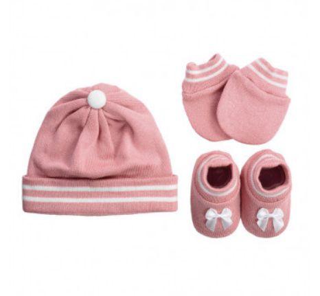Kit Sapatinho + Luva + Touca de Tricot Rosa Fio de Amor Baby