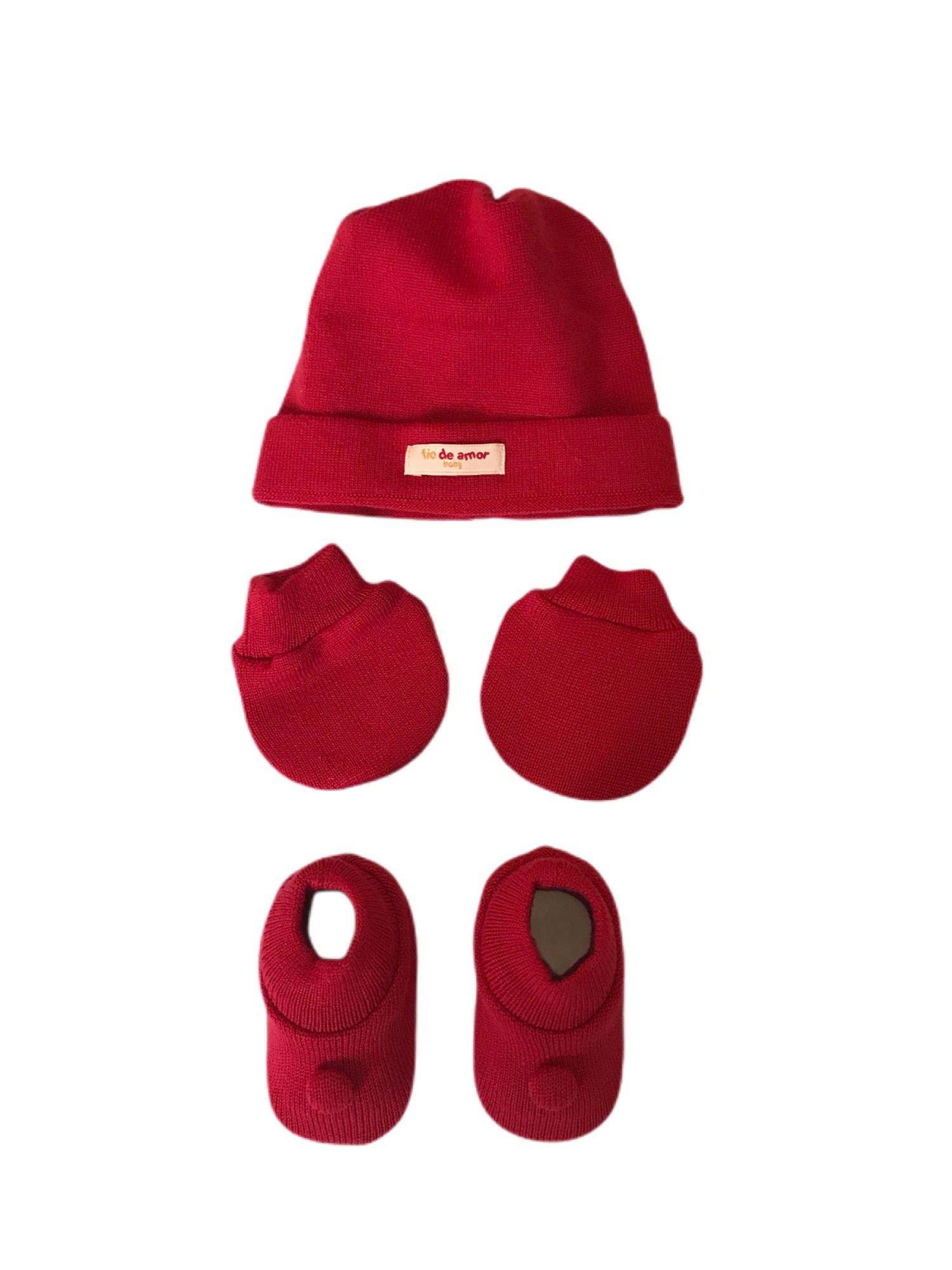 Kit Sapatinho + Luva + Touca de Tricot Vermelho Fio de Amor Baby