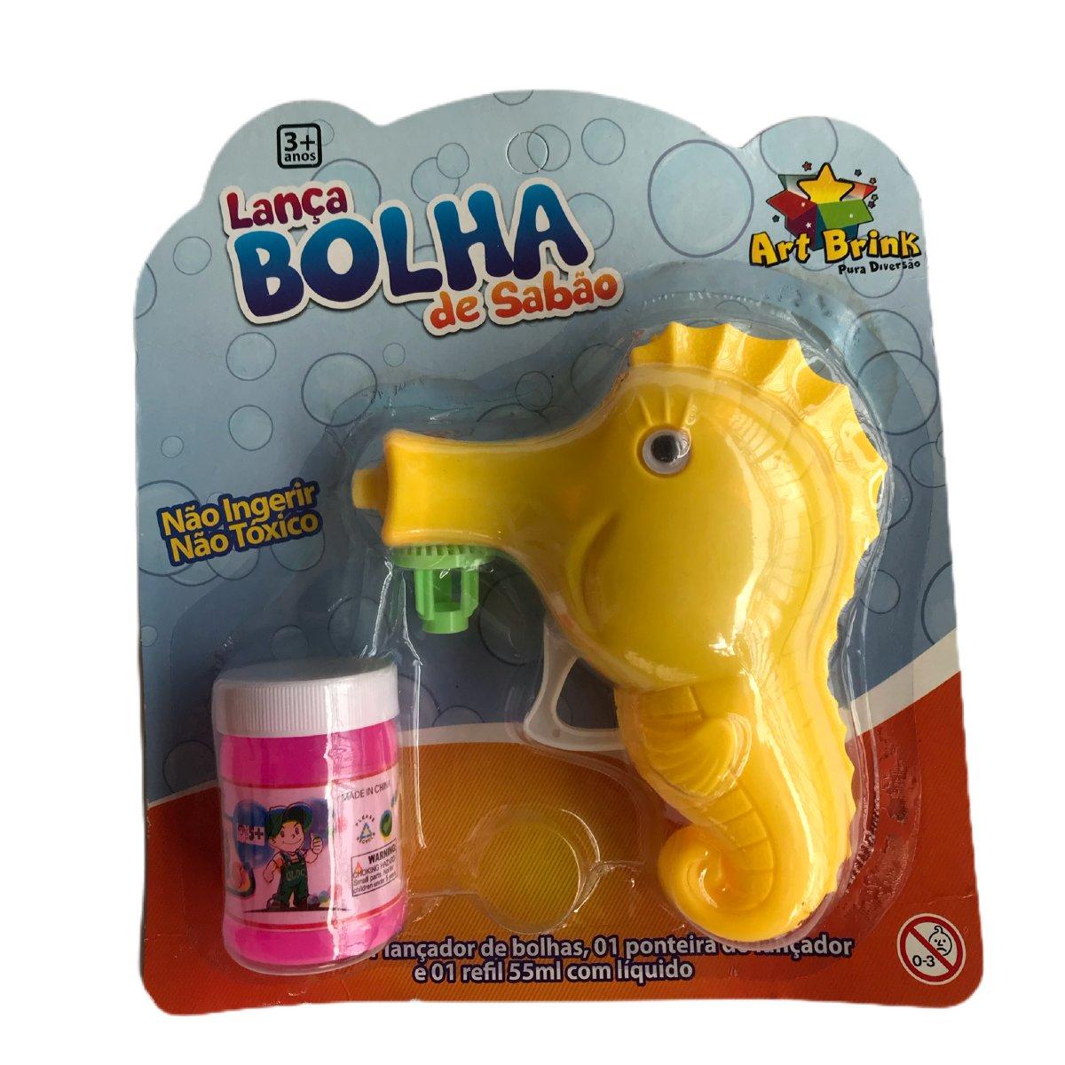 Lança Bolha de Sabão Cavalo Marinho Amarelo Art Brink