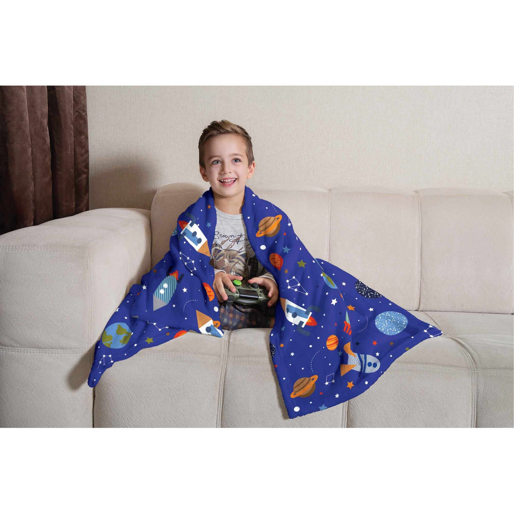 Manta de Sofá Foguete Fleece Espaço Divertido 1,25X1,50m Lepper