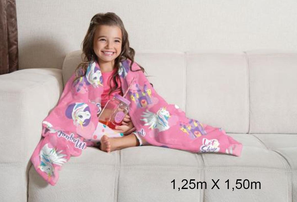 Manta de Sofá Unicórnio Fleece Doce Fantasia 1,25X1,50m Lepper