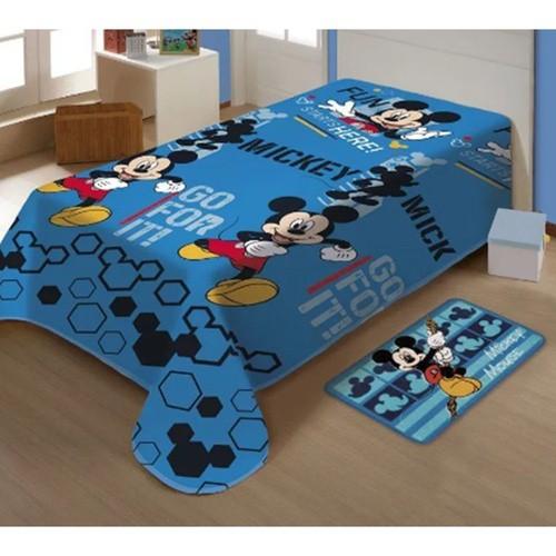 Manta Soft Azul Microfibra Disney Mickey Mouse Jolitex
