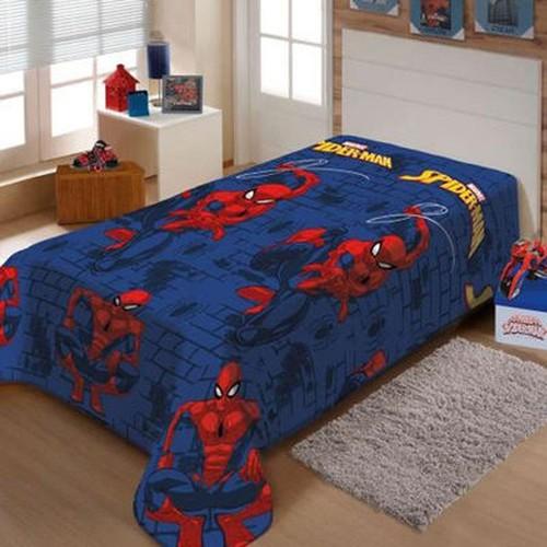 Manta Soft Azul Microfibra Marvel Homem Aranha Spider-Man Jolitex