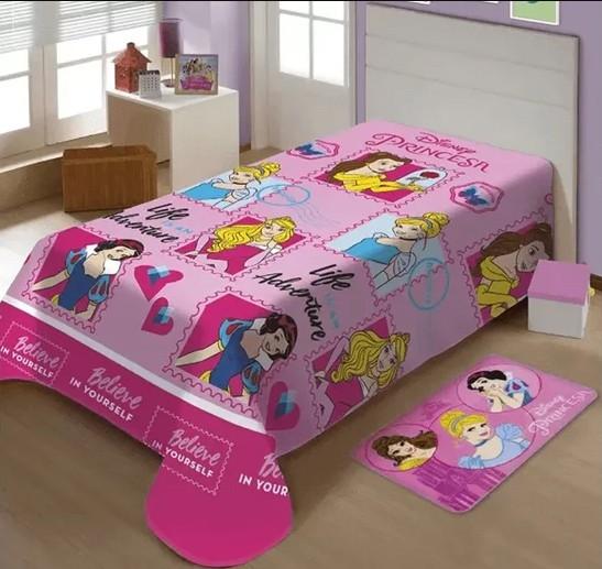 Manta Soft Rosa Microfibra Disney Princesas Jolitex