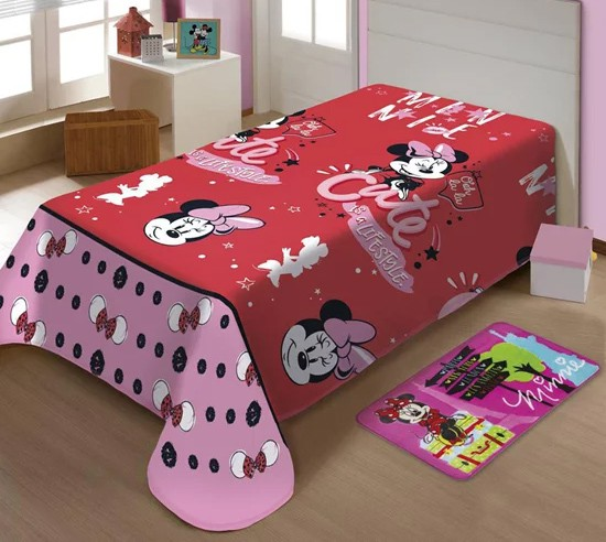 Manta Soft Vermelha Microfibra Disney Minnie Mouse Jolitex