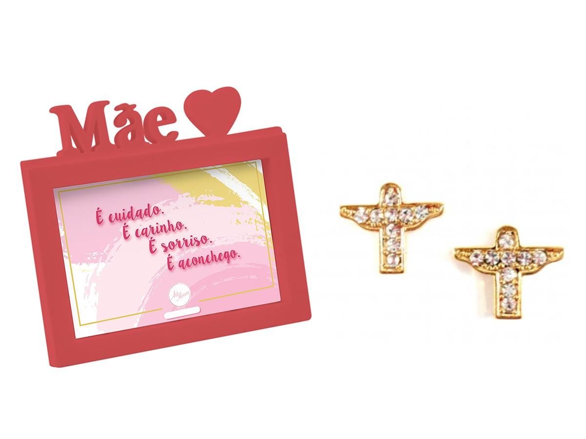 Presente Dia das Mães Kit Brinco Cristo Dourado e Porta Retrato