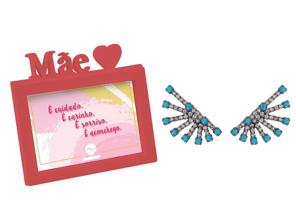 Presente Dia das Mães Kit Brinco Ear Raios e Porta Retrato