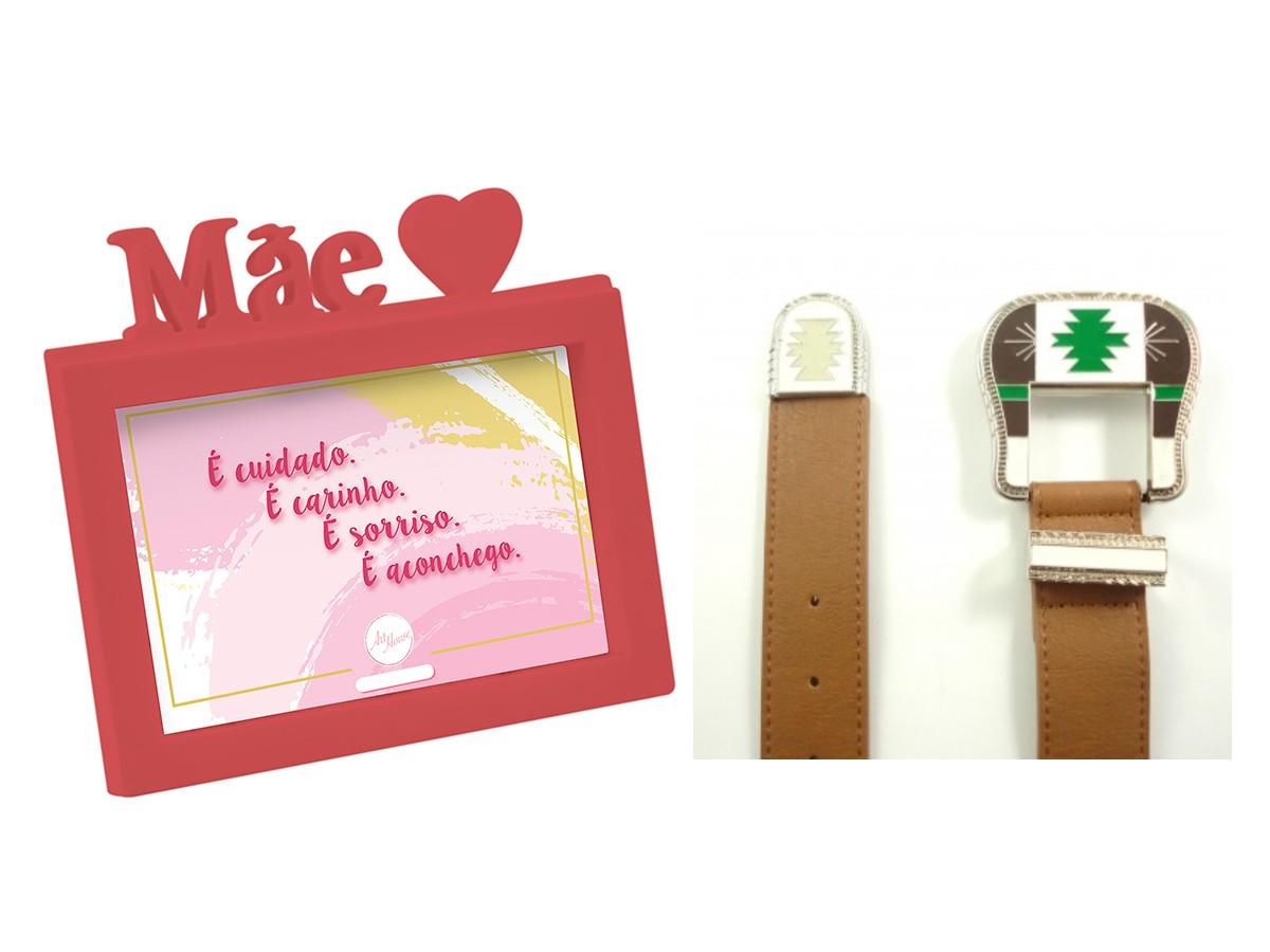 Presente Dia das Mães Kit Cinto Marrom e Porta Retrato