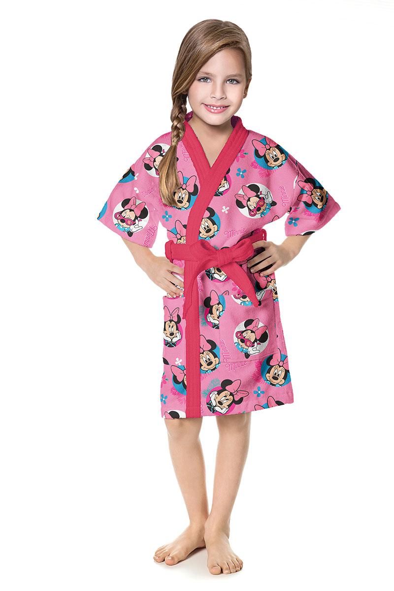 Roupão Minnie Infantil Aveludado Quimono Rosa Lepper