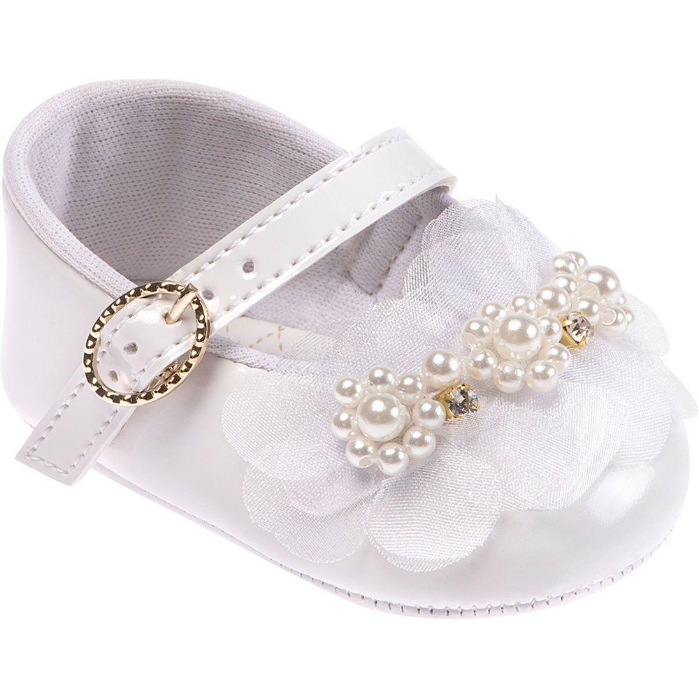Sapato Infantil Branco Festa Flores Com Pérolas 4 a 6 Meses Pimpolho