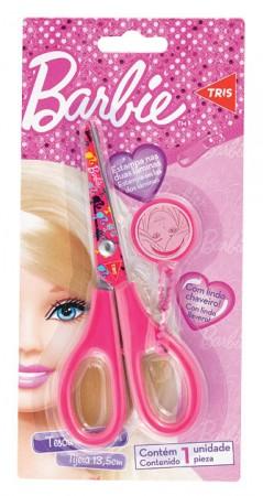Tesoura Escolar com Chaveiro Barbie Tris
