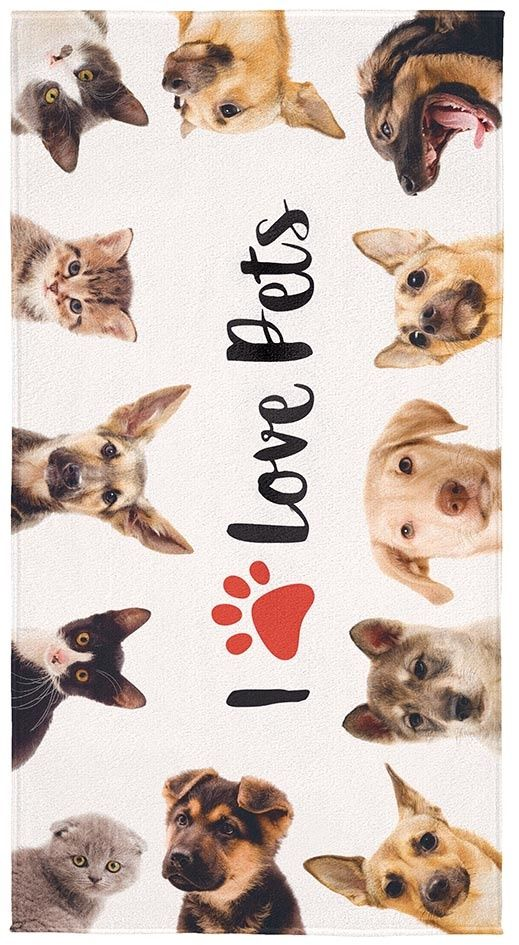 Toalha Aveludada Transfer I Love Pets  061203 Lepper