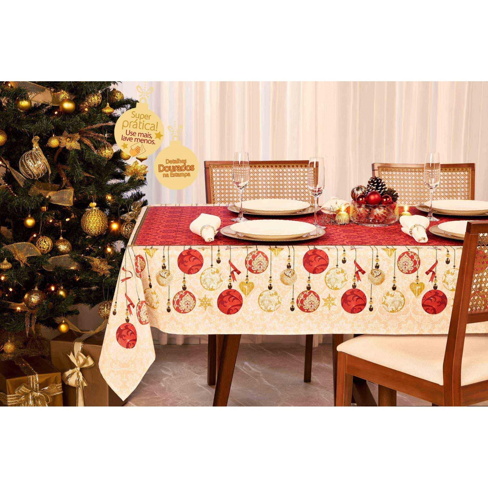 Toalha de Mesa Celebration Natal Retangular 6 Lugares 36629 Lepper