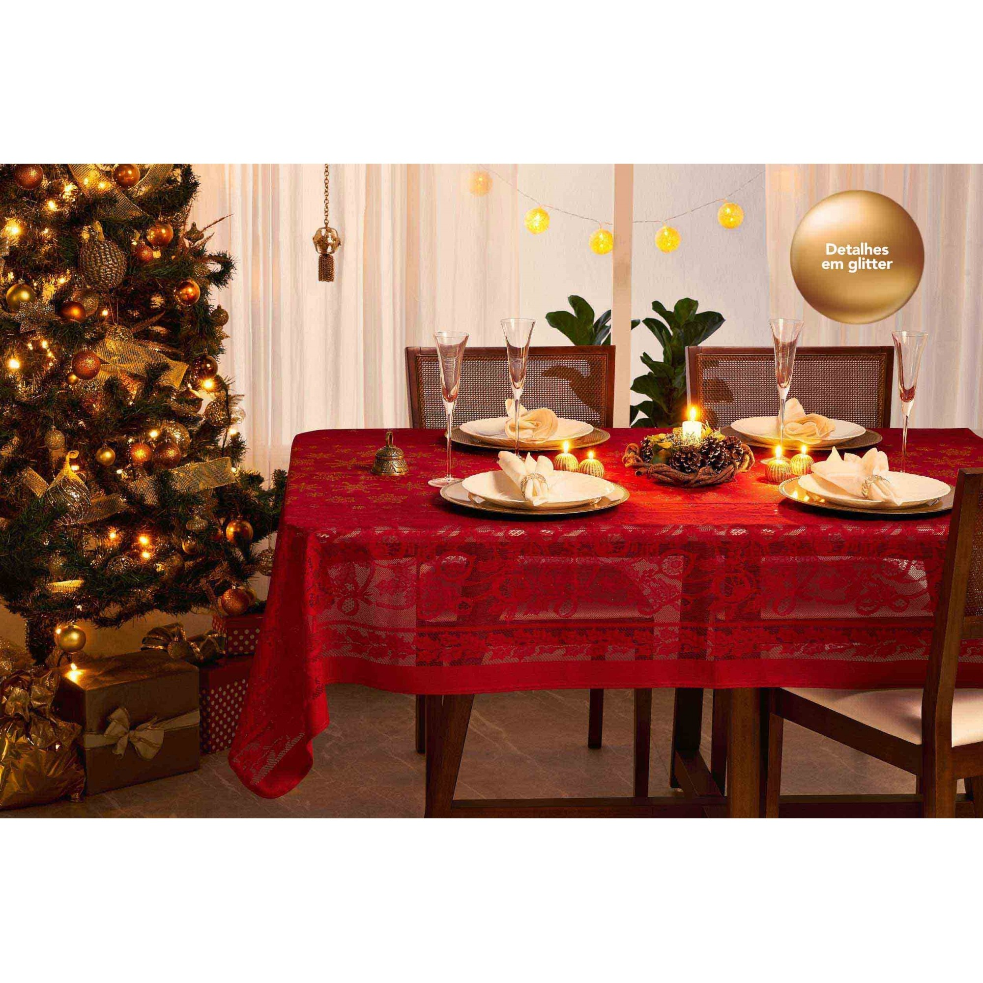 Toalha de Mesa de Renda Cristal Natal Retangular 10 Lugares 35304 Lepper