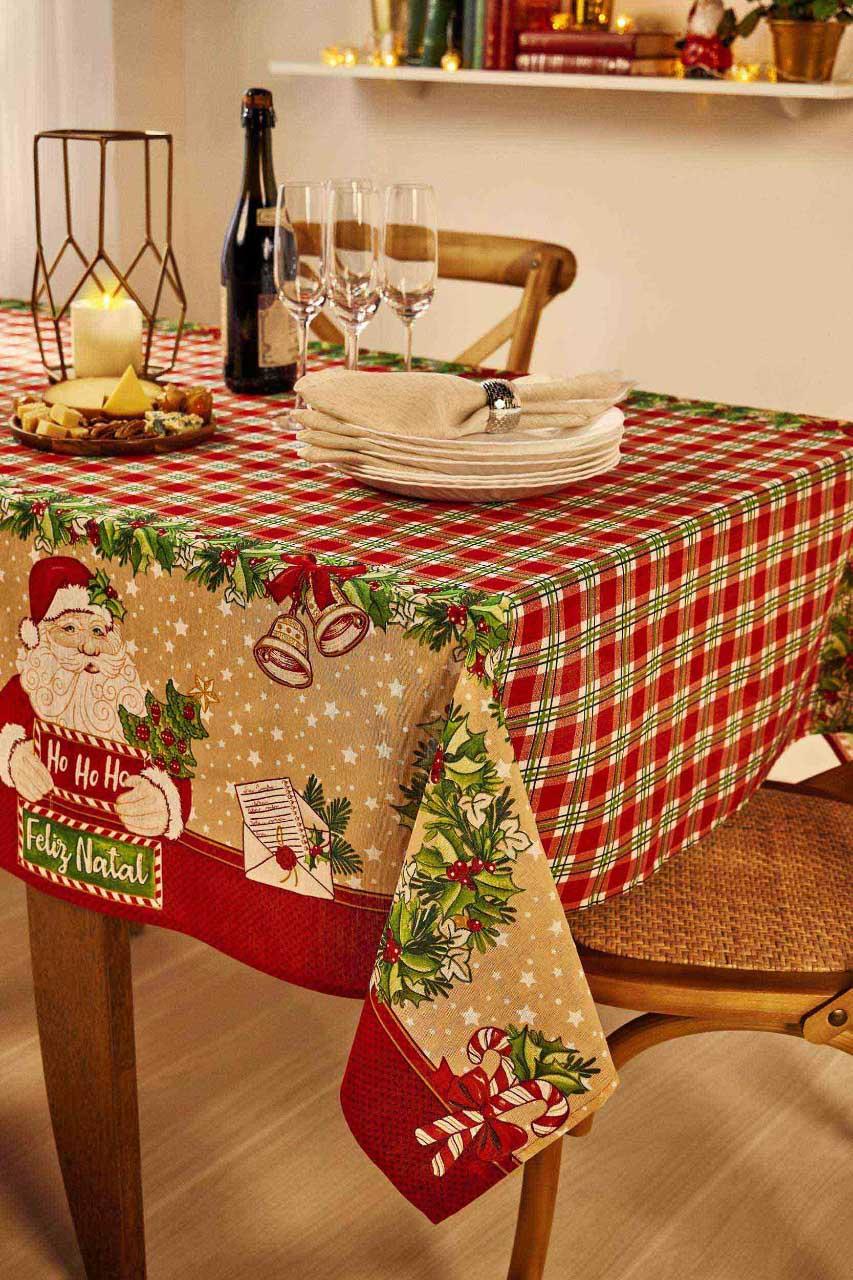 Toalha de Mesa Natal Noel Quadrada 4 Lugares 36637 Lepper