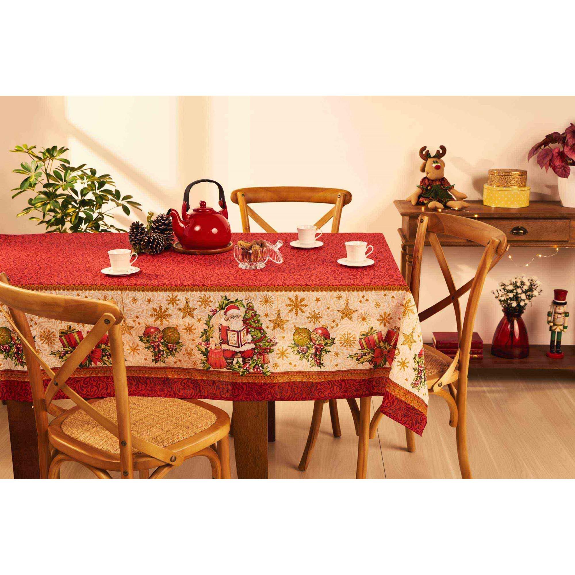Toalha de Mesa Noite Feliz Natal Quadrada 4 Lugares 36632 Lepper