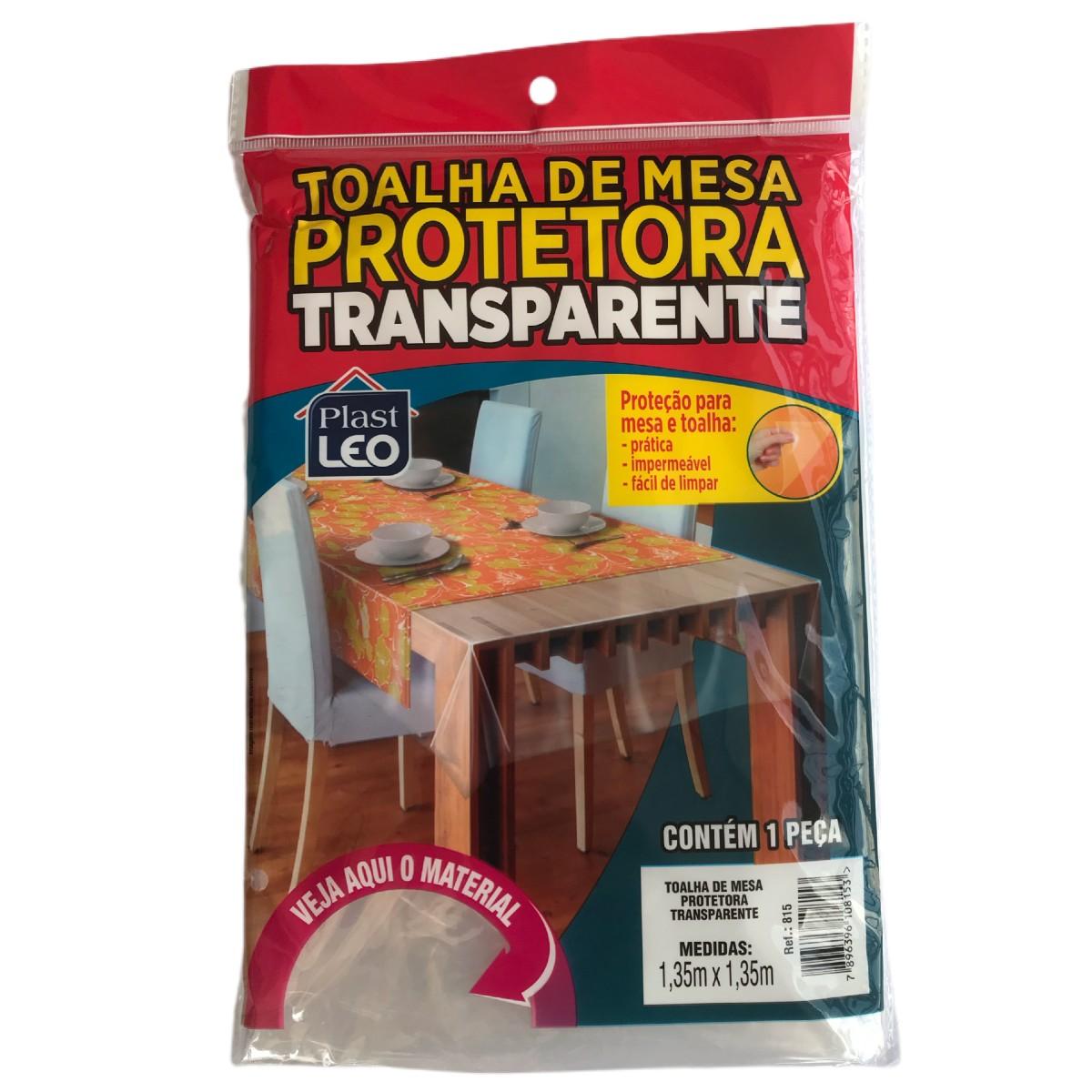 Toalha De Mesa Protetora Transparente 1,35m X 1,35m Plast Léo