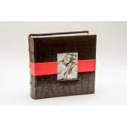 Álbum de fotos Croco  Red Strip de couro ecologico-100 fotos 10x15 cm Marrom