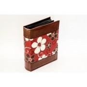 Álbum de fotos Floral de couro ecologico-200 fotos 10x15 cm Marrom e Vermelho