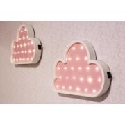 Duo de nuvens luminosas mdf luminária led quarto de menina rosa bebê
