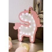 Unicórnio Baby luminoso mdf luminária led rosa super fofo
