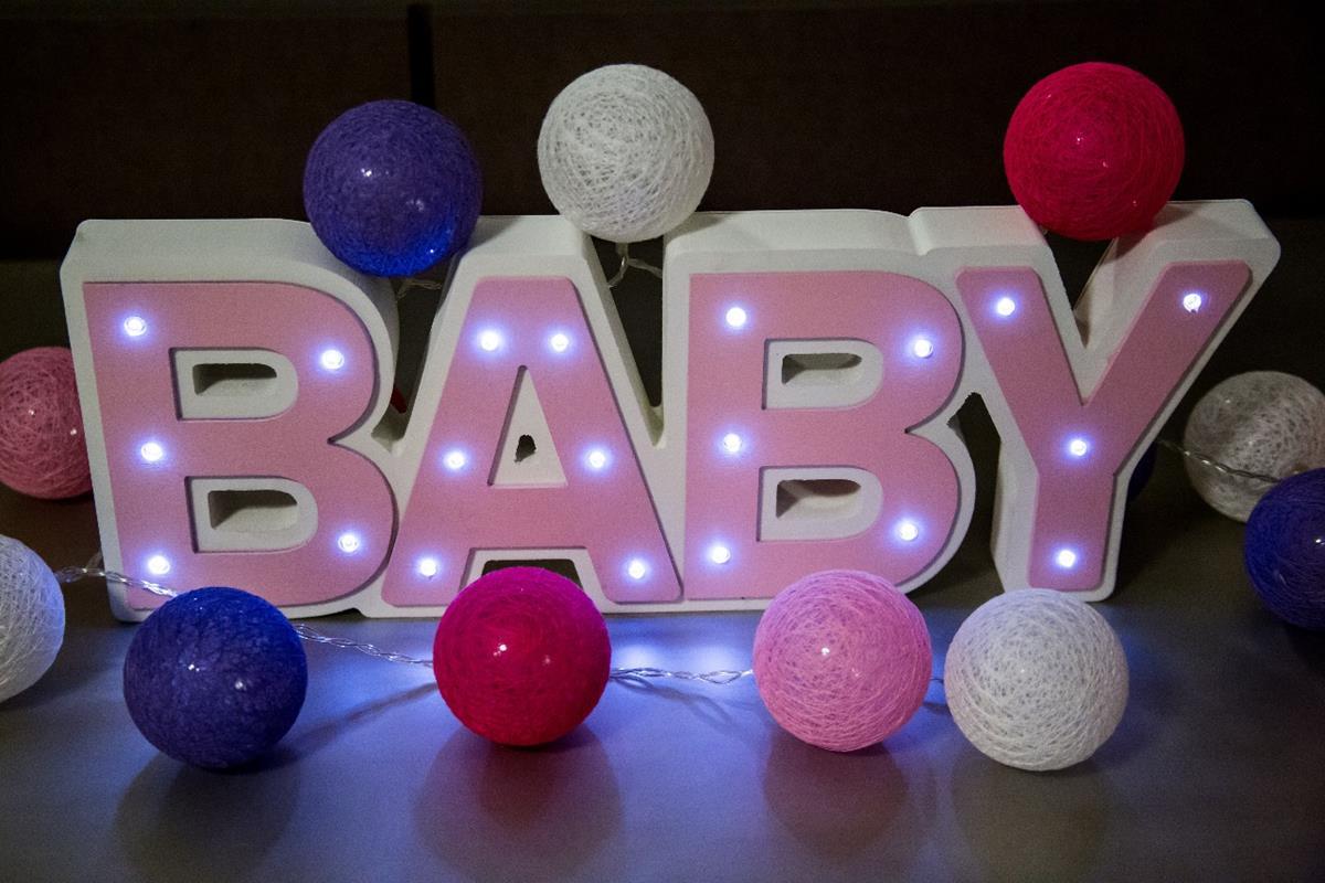 BABY Luminoso cor de rosa mdf luminária led quarto de menina luxo