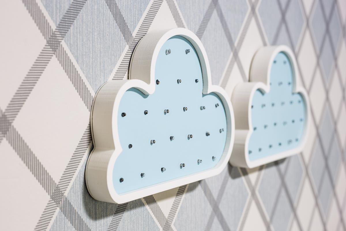 Nuvem luminosa mdf luminária led quarto de menino azul bebê