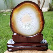 Cristal - Chapa - Placa Ágata Marrom - Com Suporte