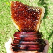 Cristal - Drusa de Citrino com Suporte de Madeira