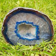 Cristal - Geodo - Ágata Azul com Cristalização de Quartzo