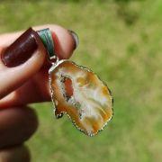Cristal - Pingente - Placa de Ágata Marrom Natural