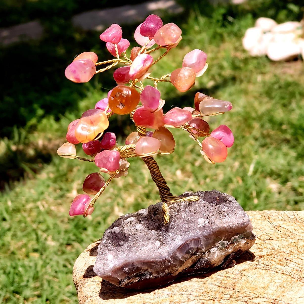 Árvore Bonsai Cristais de Ágata Rosa