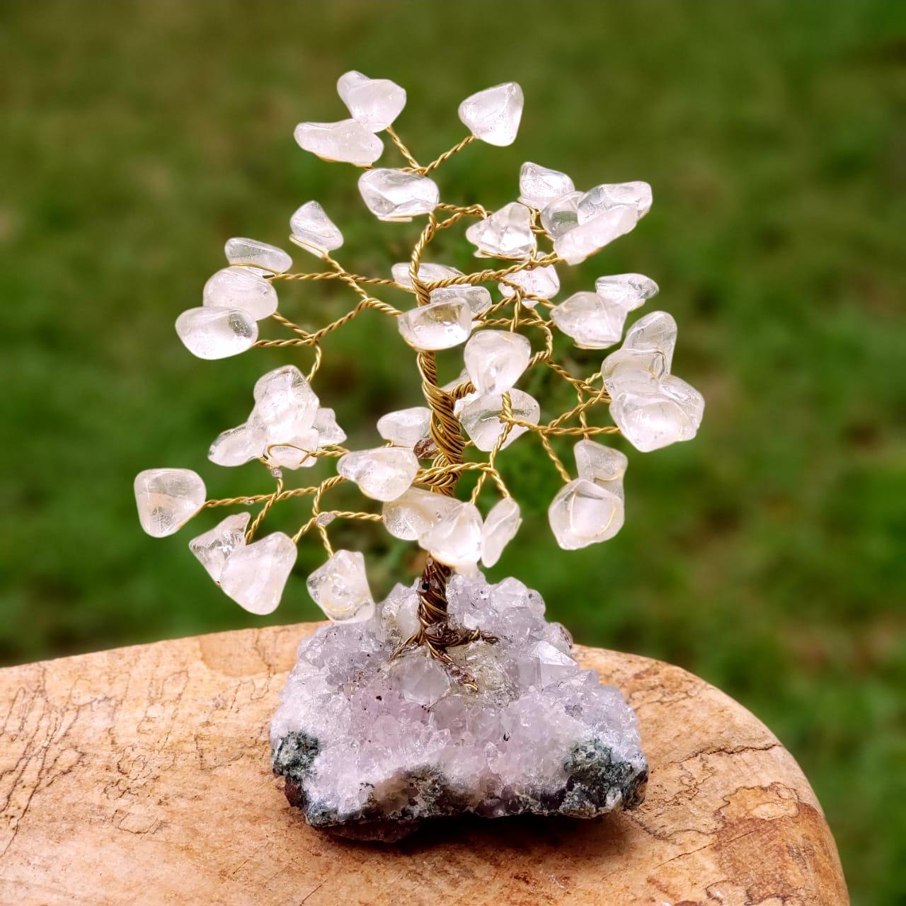 Árvore Bonsai Cristais de Quartzo Branco