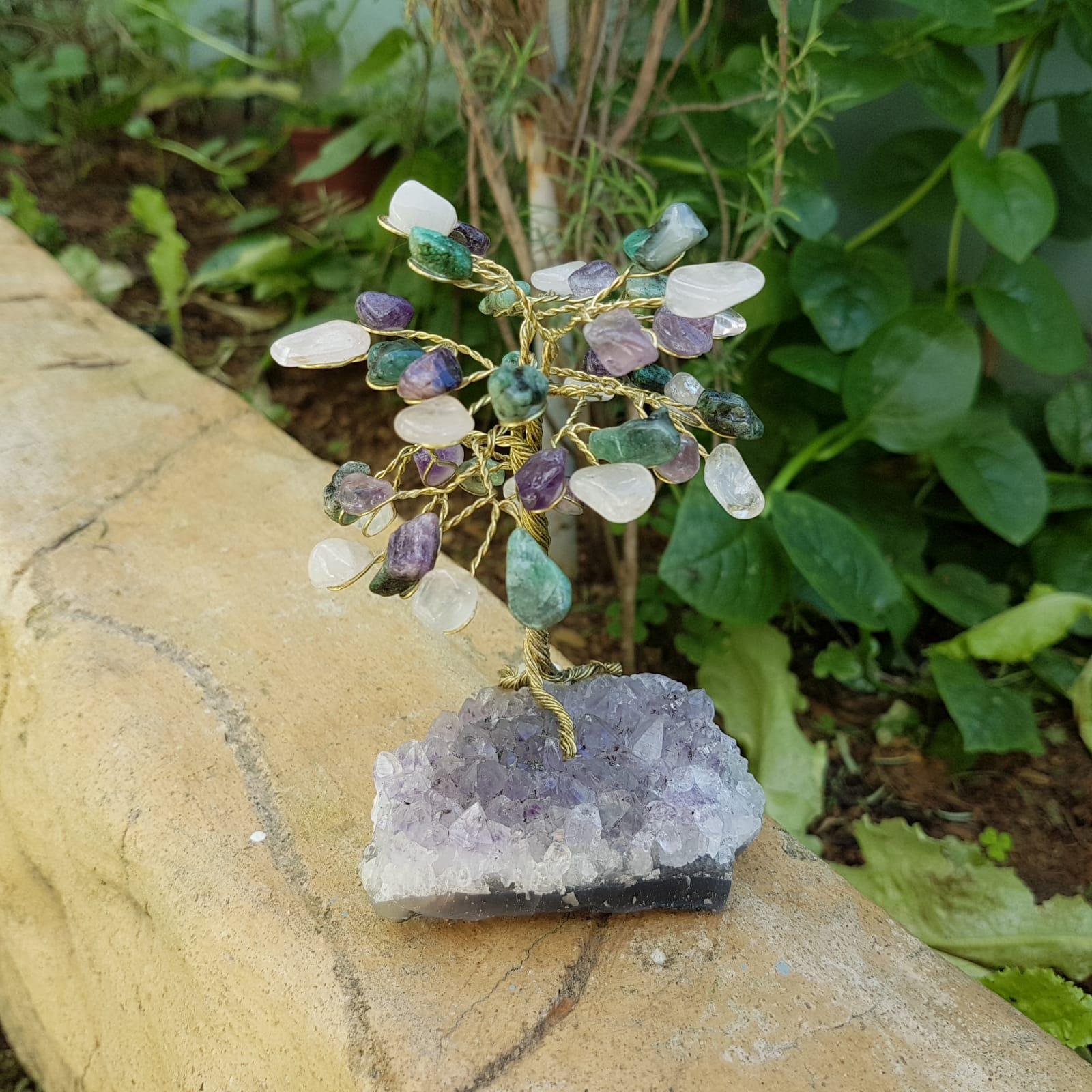 Árvore Bonsai de Cristais de Esmeralda - Ametista - Quartzo Rosa