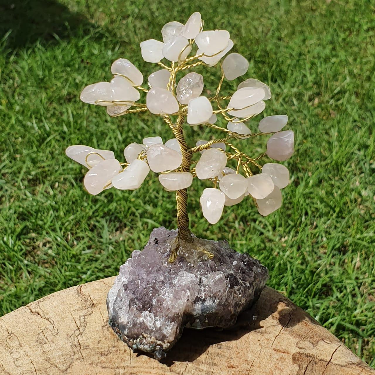 Árvore Bonsai Cristais de Quartzo Rosa