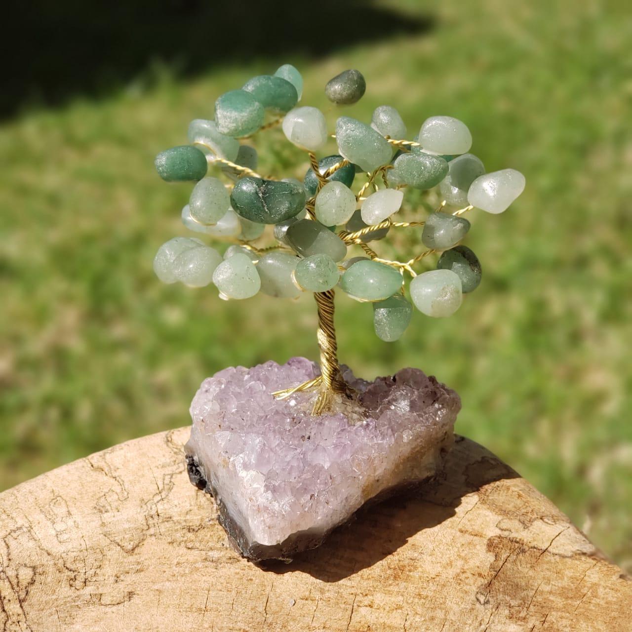 Árvore Bonsai de Cristais de Quartzo Verde
