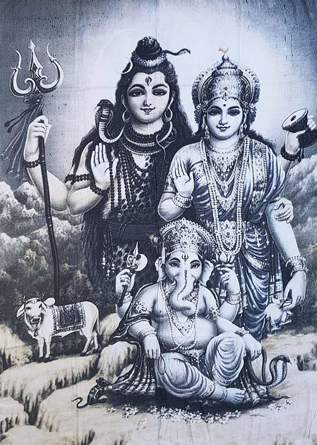 Canga Indiana - Deuses Hindus - Krishna, Radha e Ganesha