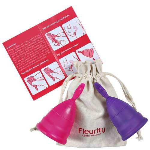Fleurity - Coletor Menstrual  - TIPO 2 (2 UNIDADES) + Fleurity - Porta Coletor e Esterilizador - Rosa