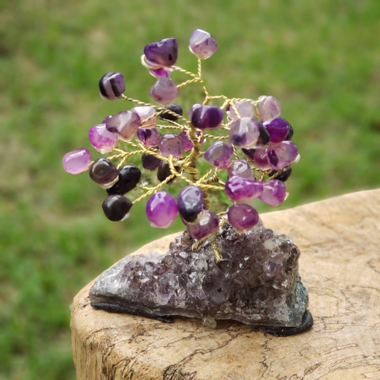 Cristal - Árvore Bonsai de Ametista e Ágatas