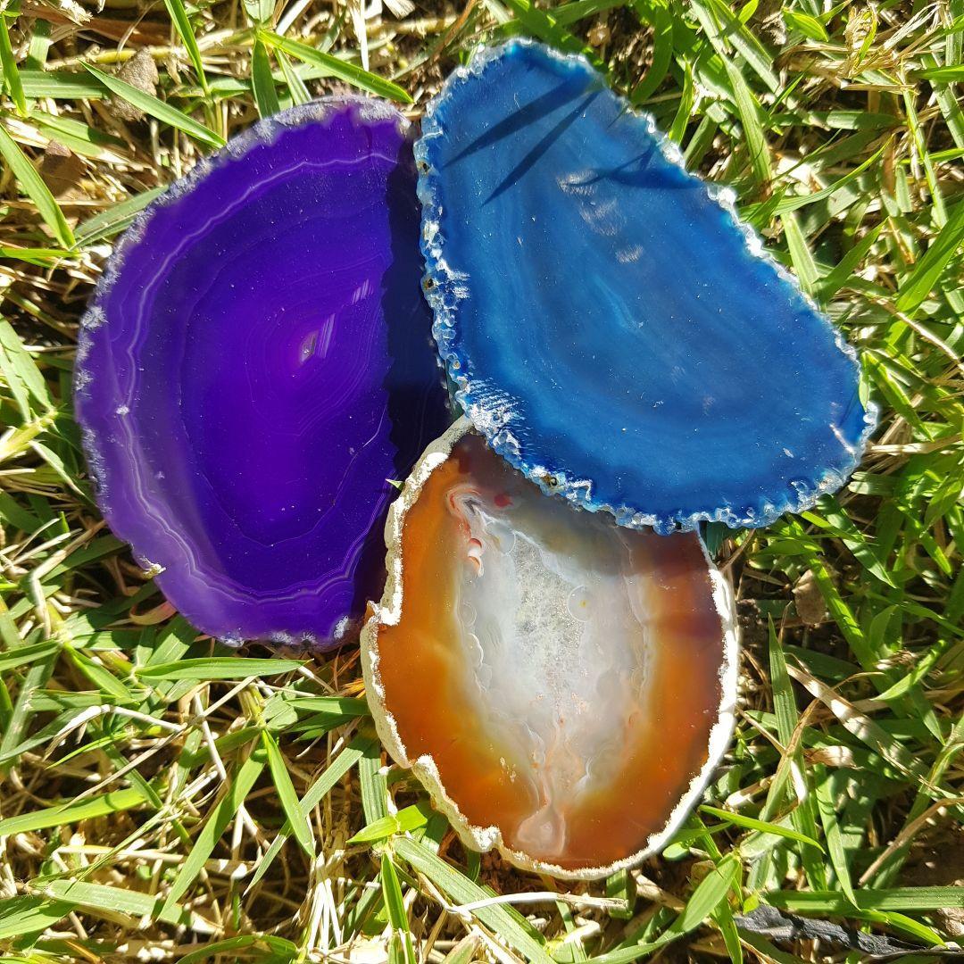 Cristal - Chapa - Coleção Placas de Ágata - Roxa, Azul e Marrom