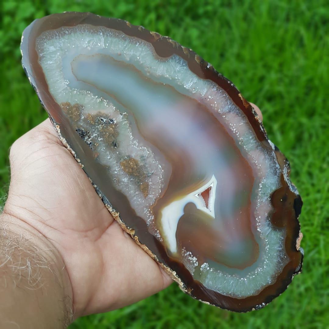 Cristal - Chapa - Par de Placas Ágata Marrom