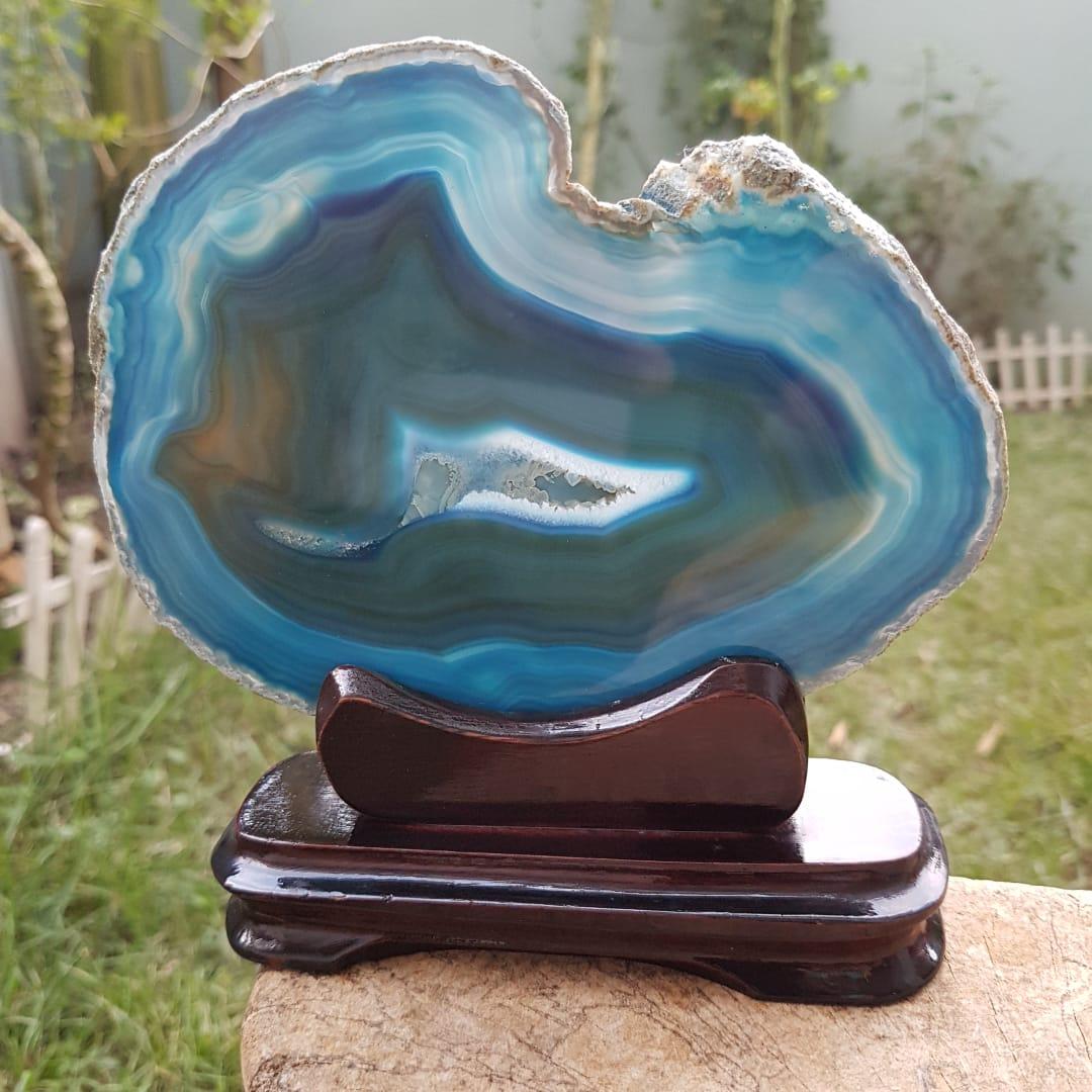Cristal - Chapa - Placa Ágata Azul - Com Suporte
