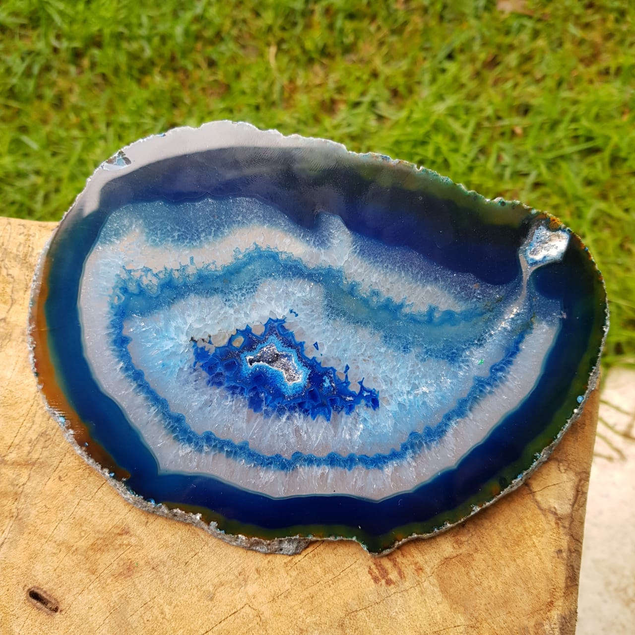 Cristal - Chapa - Placa Ágata Azul - Concentração e Intuição