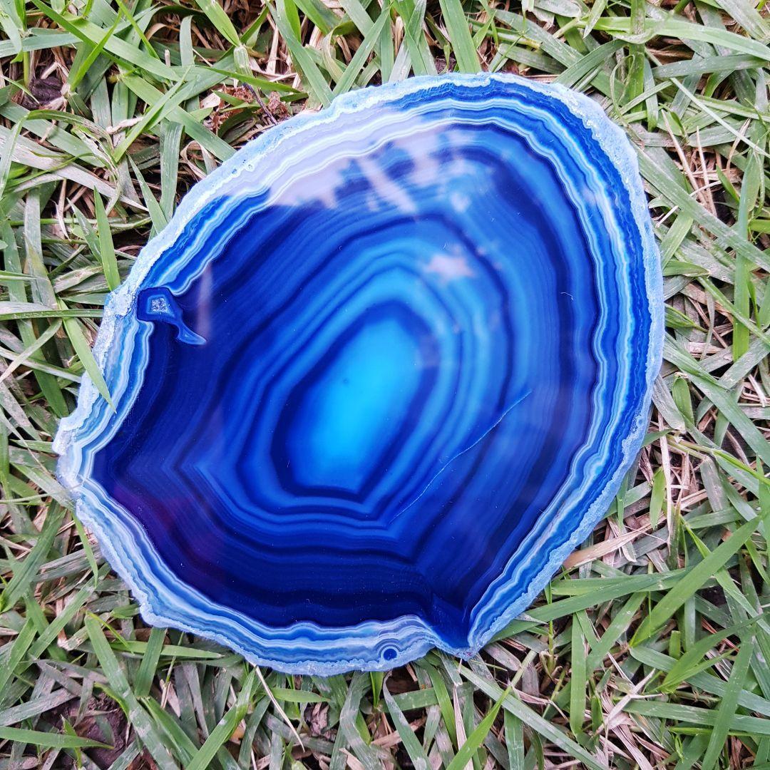 Cristal - Chapa - Placa Ágata Azul - Estimula a Intuição