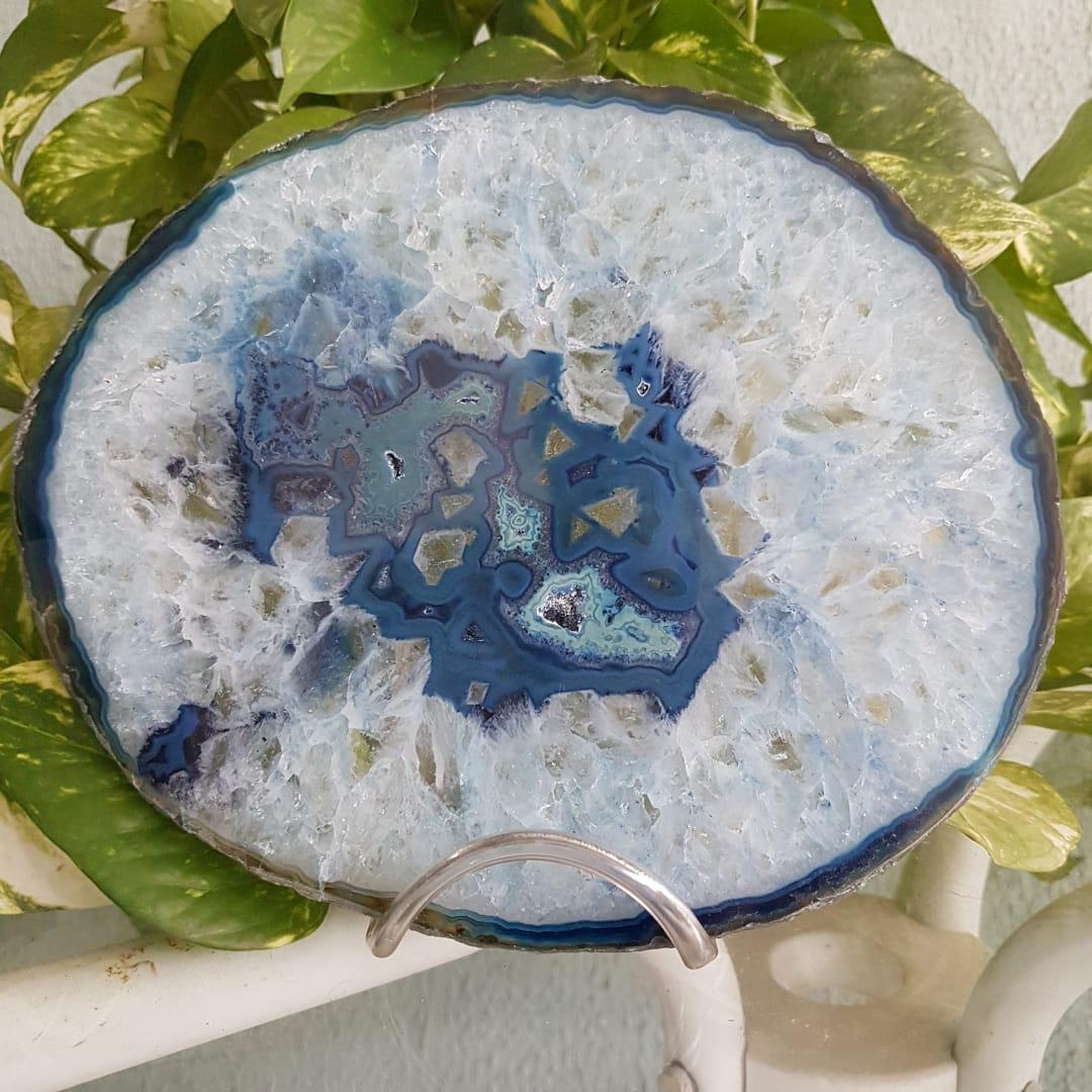 Cristal - Chapa - Placa Ágata Azul - Grátis Suporte
