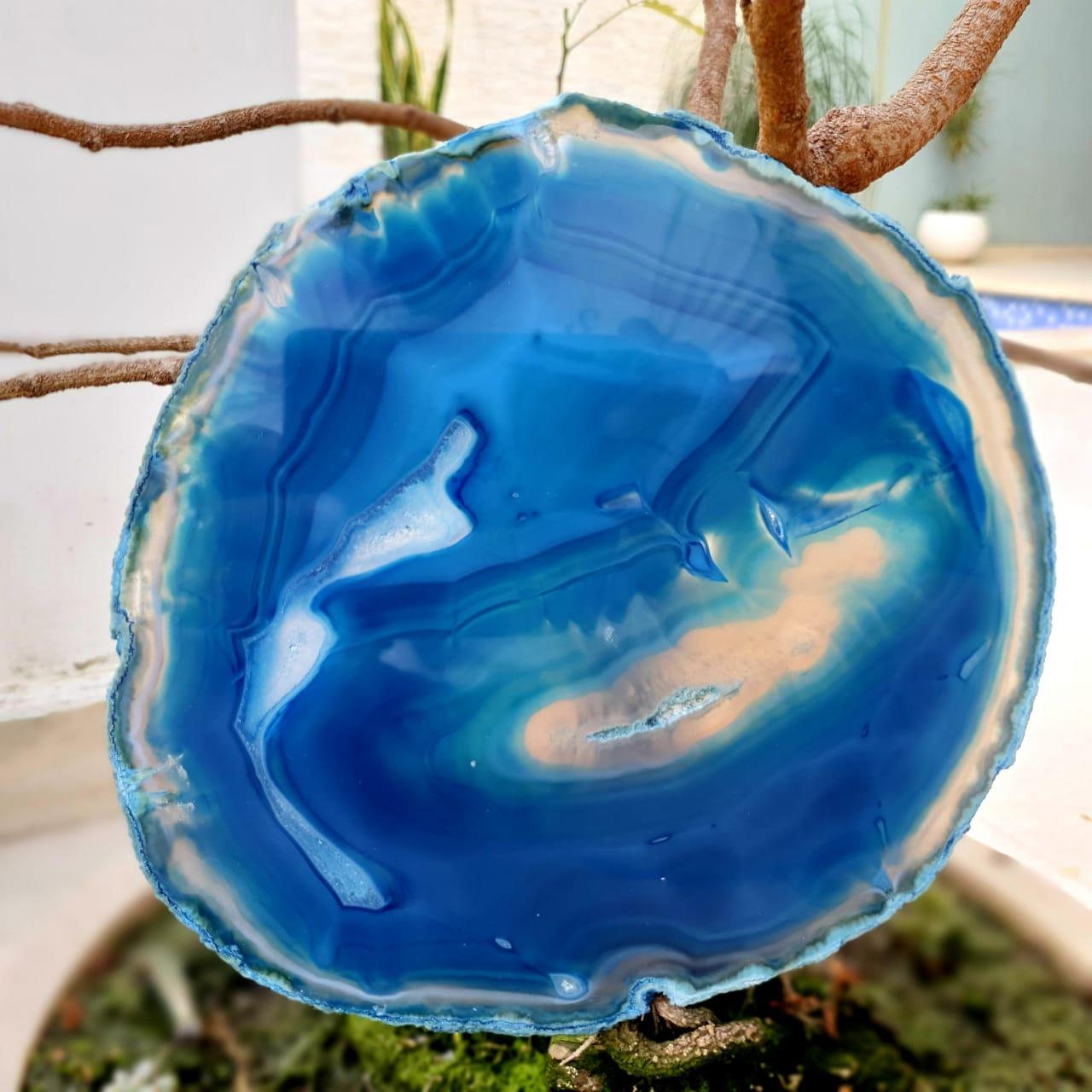 Cristal - Chapa - Placa Ágata Azul - PEÇA ÚNICA