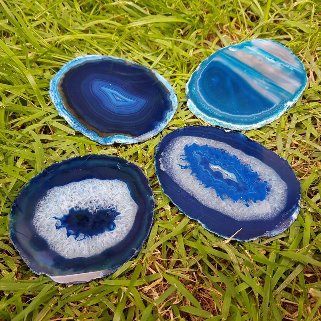 Cristal - Chapa - Placa Ágata Azul Sortida
