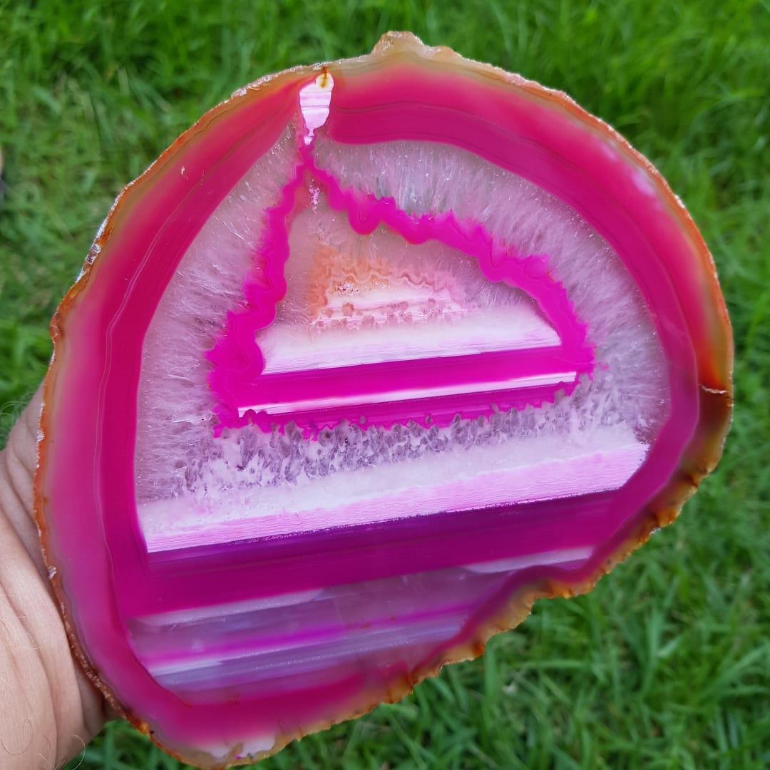 Cristal - Chapa - Placa Ágata Rosa